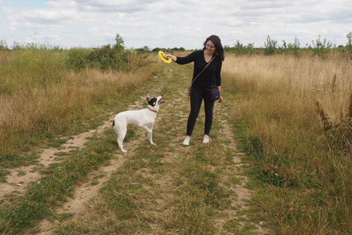 Lisa Dog Walking with frisbee