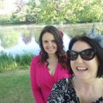 Lisa and Mum Angie in outside a lake in Buckingham Palace gardens