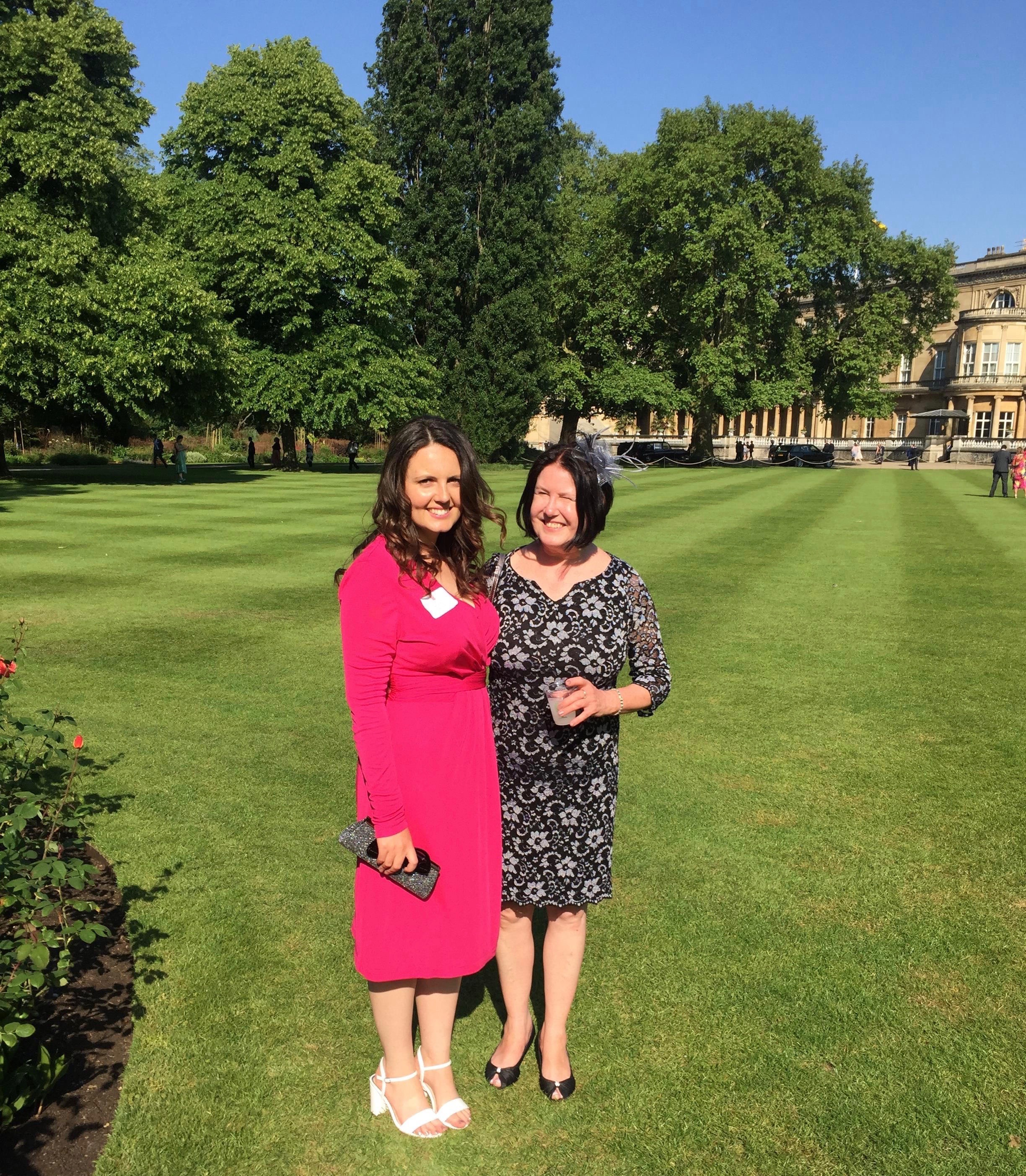 Lisa and Mum Angie in the gardens of Buckingham Palace