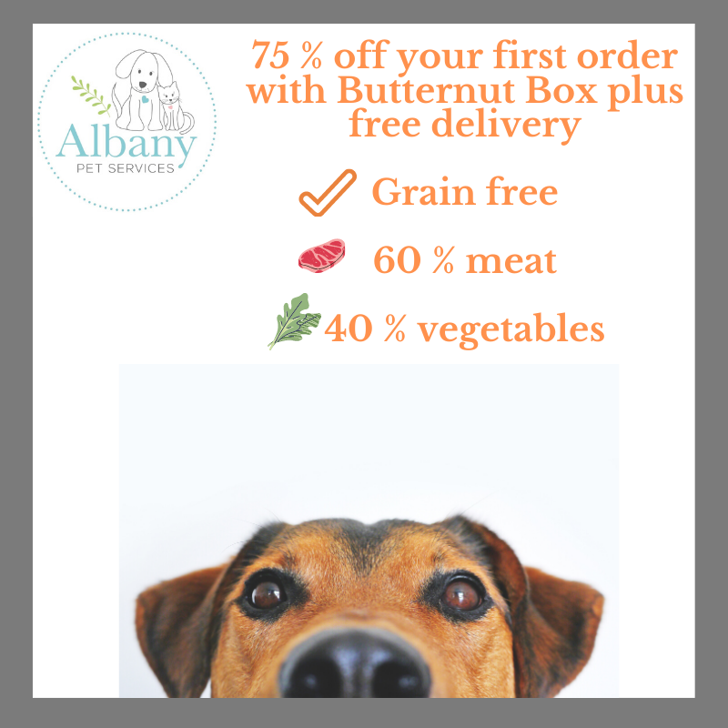 75 % off your first order with Butternut Box plus free delivery Grain free 60 % meat 40 % vegetables