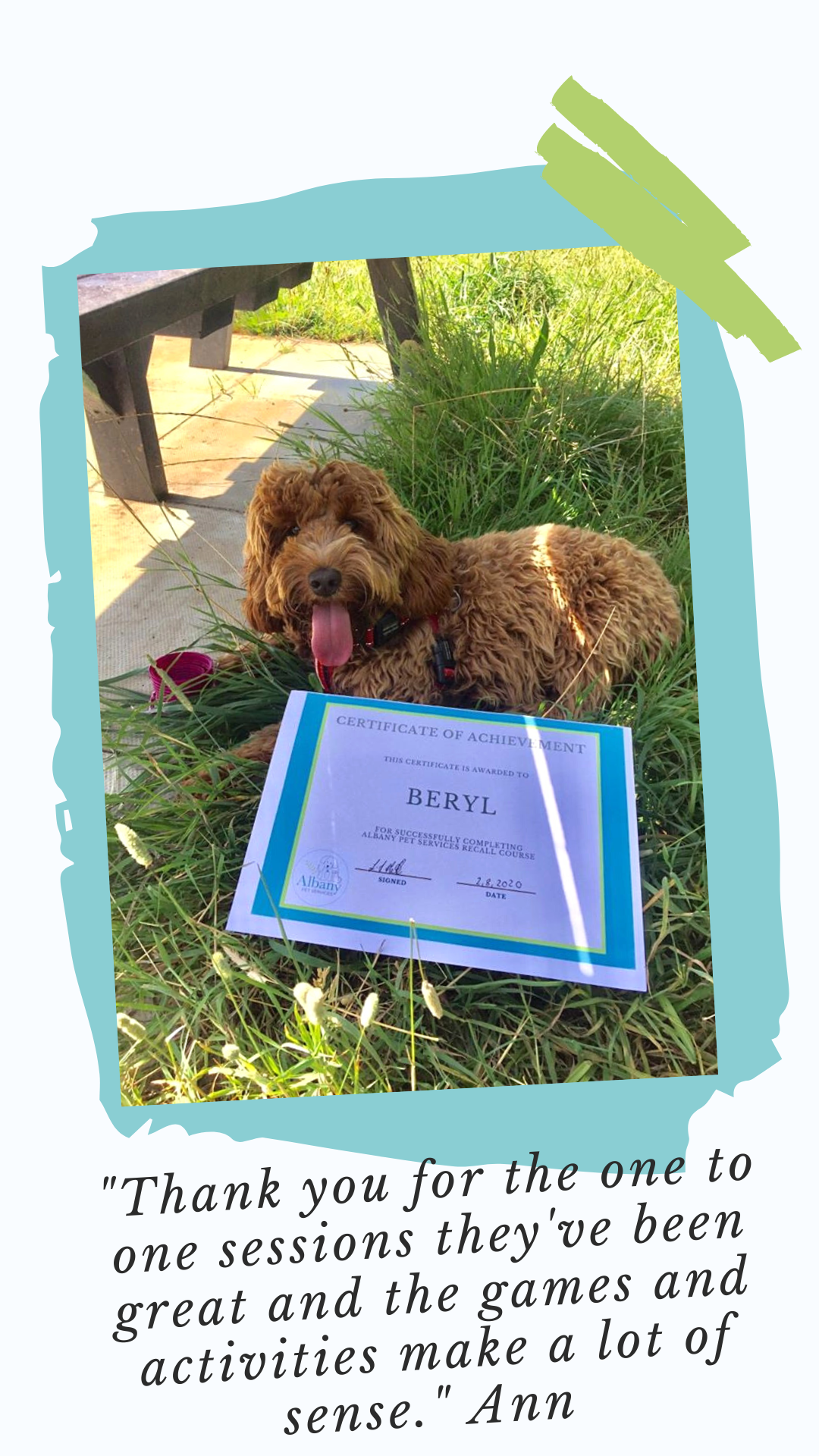 Beryl poses with her recall certificate