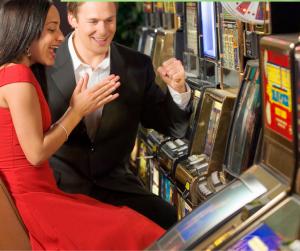 A couple on a slot machine